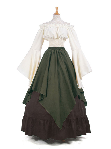 Milanoo Victorian Costume Retro Long Trumpet sleeve Chiffon Women's Medieval Dress Halloween
