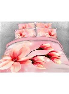 Pink Magnolia Flowers Soft Duvet Cover 3D Printed 4-Piece Floral Bedding Sets