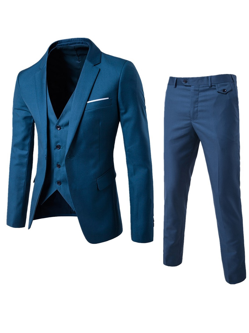 Ericdress Plain Three-Piece of Casual Slim Men's Suit