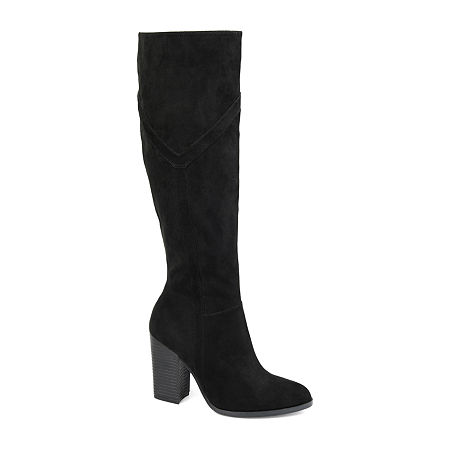 Journee Collection Womens Kyllie Wide Calf Stacked Heel Dress Boots, 12 Medium, Black