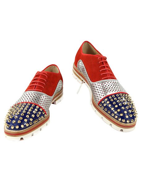 Milanoo Red Dress Shoes Leather Men Round Toe Rivets Beaded Lace Up Oxford Shoes