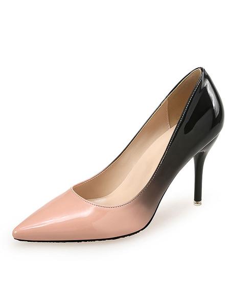Milanoo Woman\'s High Heels Pointed Toe Basic Pumps Color Block