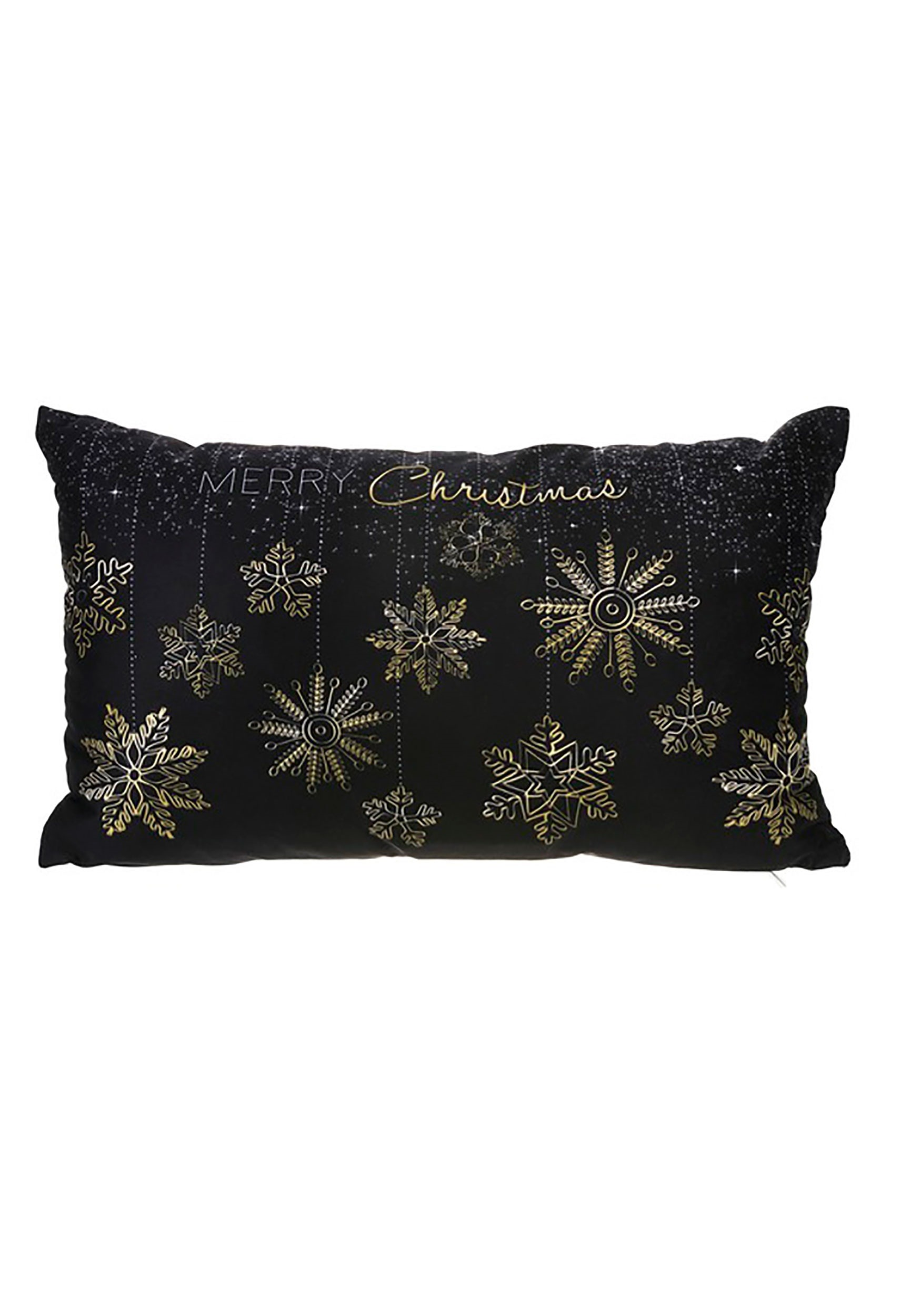 Merry Christmas Golden Snowflakes 19 x 12 Pillow w/LED Lights