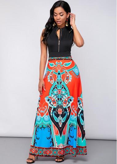 Cocktail Party Dress Sleeveless Tribal Print Quarter Zip Maxi Dress - M