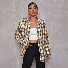 Drop Shoulder Single Breasted Tartan Blouse
