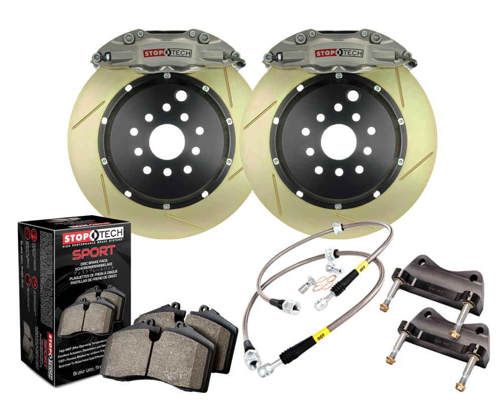 StopTech 83.429.005G.R3 Trophy Sport Big Brake Kit; Silver Caliper; Slotted 2 PieceRotor; Rear Honda S2000 Rear 2000-2005
