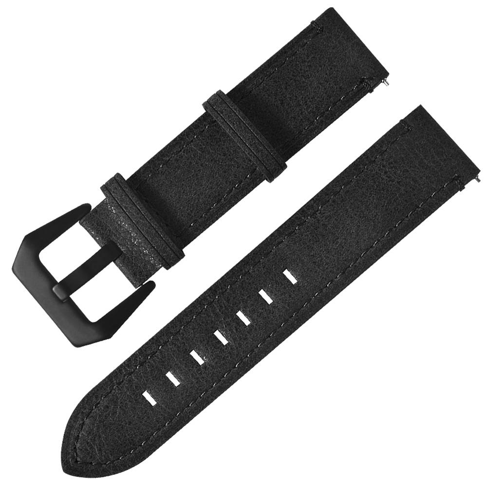 Replacement Strap Genuine Leather Watch Bracelet Band 20mm For Xiaomi Huami Amazfit Bip - Black