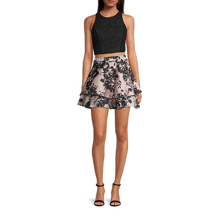 City Triangle-Juniors Sleeveless Lace Floral Dress Set, 0 , Black