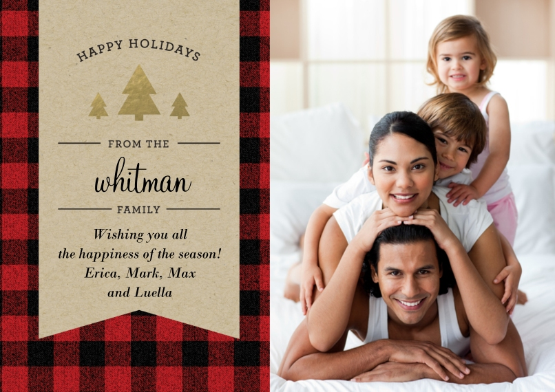 Holiday Photo Cards 5x7 Cards, Standard Cardstock 85lb, Card & Stationery -Holiday Plaid