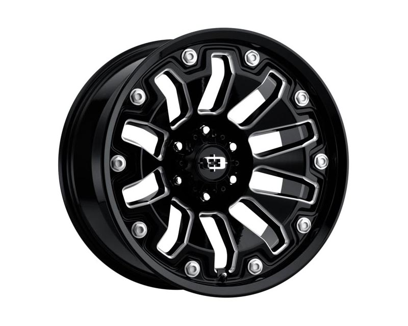 Vision Wheels 362-2984GBMS0 Armor Wheel 20x9 6x139.70 0 BKGLBM Gloss Black Milled Spokes