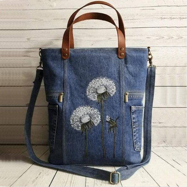 Women Flower Print Canvas Handbag Shoulder Bag