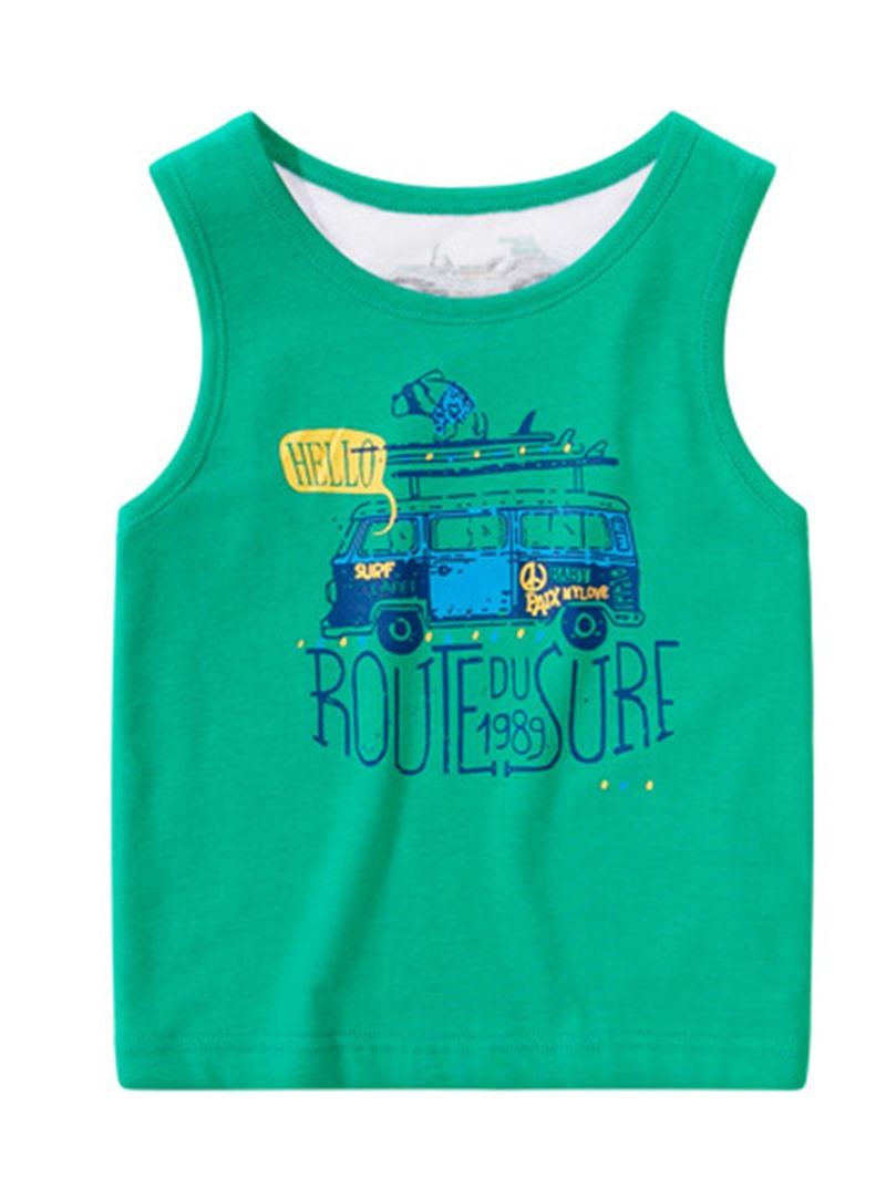 Ericdress Cartoon Print Cotton Suspenders Boys T-Shirt