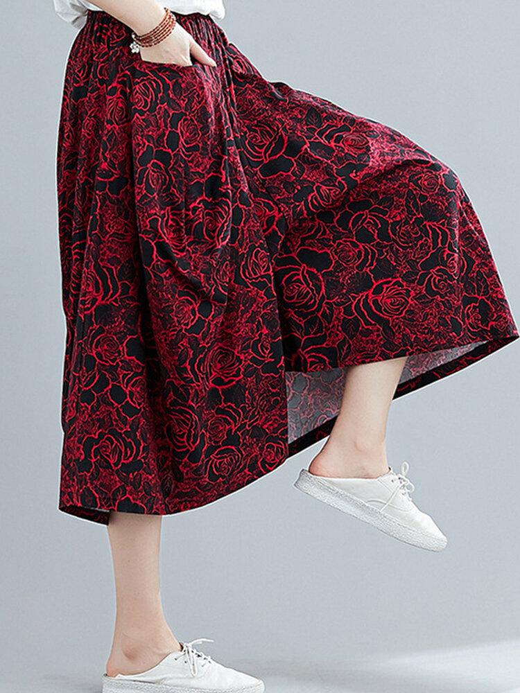 Vintage Floral Printed Elastic Waist Wide Leg Pants