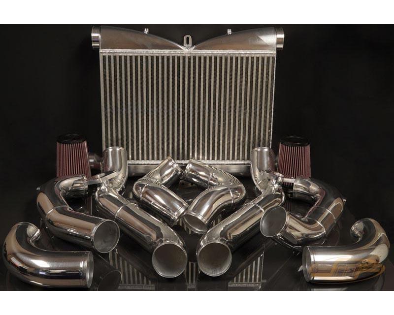JM Fabrications GTR-FMIC-00-STK-BLU-MAF-P 09-20 Nissan GTR front mount intercooler kit stock BOV flanges blue couplers MAF flanges on intake pipes pol