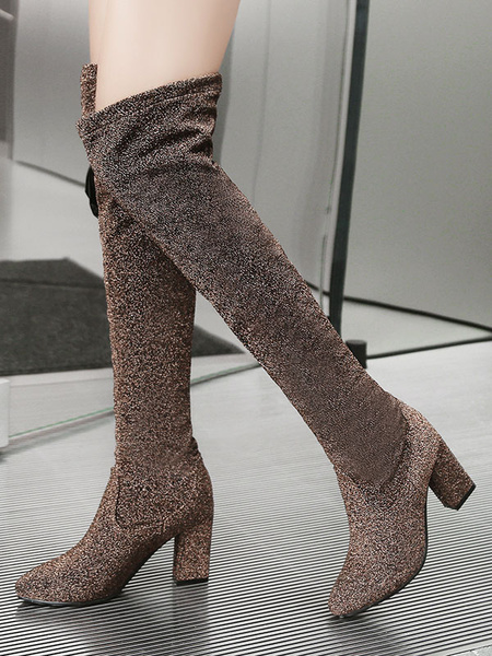 Milanoo Over The Knee Boots Coffee Brown Round Toe Sequined Cloth Winter Boots For Women