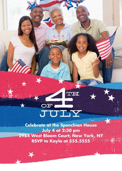 4th of July Photo Cards 5x7 Cards, Premium Cardstock 120lb with Rounded Corners, Card & Stationery -Red & Blue Banner Splash July 4th