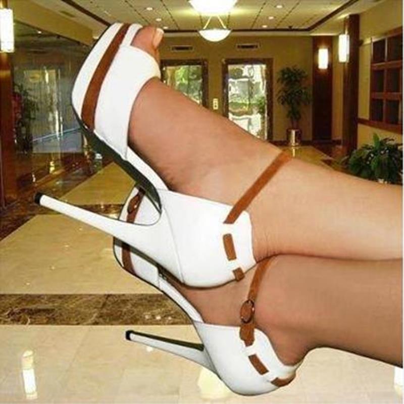 Elegant White Coppy Leather Ankle Strap Peep Toe High Heel Sandals