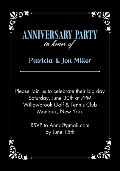 Anniversary 5x7 Cards, Premium Cardstock 120lb with Rounded Corners, Card & Stationery -Anniversary Party Corner Frame