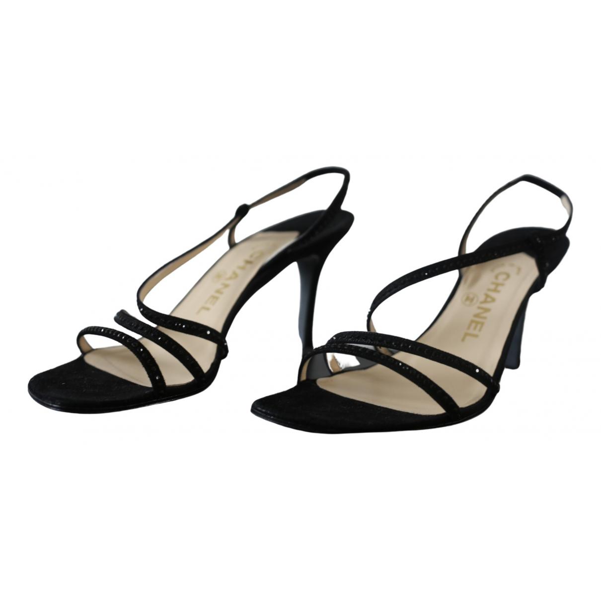 Chanel \N Black Leather Sandals for Women 38.5 EU