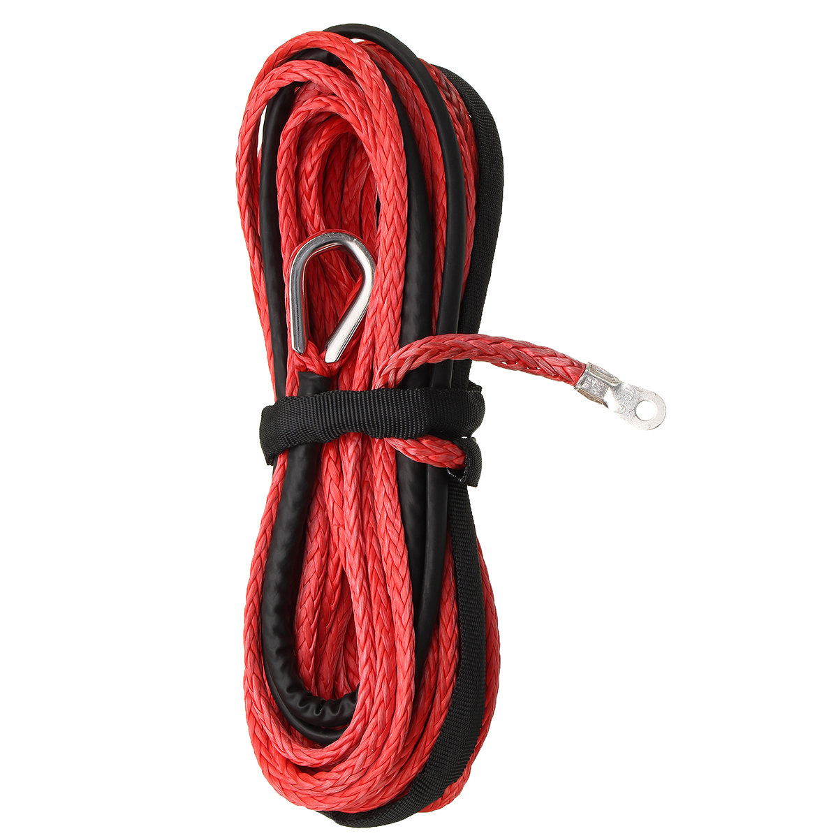 15m Car Road Vehicle Synthetic Winch Line Cable Rope 5500+ LBs + Sheath For ATV UTV