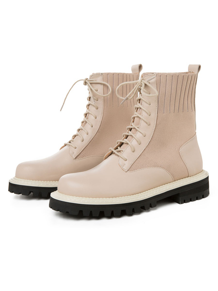 Milanoo Women Combat Boots Leater Boots Cowhide Lace Up Flat Shoes