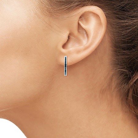 Sterling Silver Genuine Blue Diamond Hoop Earrings, One Size , No Color Family
