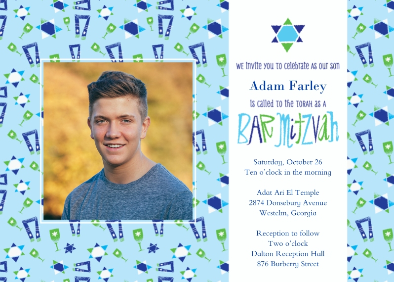 Bar & Bat Mitzvah 5x7 Cards, Standard Cardstock 85lb, Card & Stationery -Star Pattern Bar Mitzvah