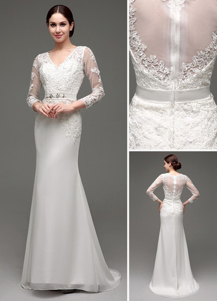 Milanoo Sheath/Column Long Sleeves Illusion Back V-neck Bridal Gown With Rhinestone Sash