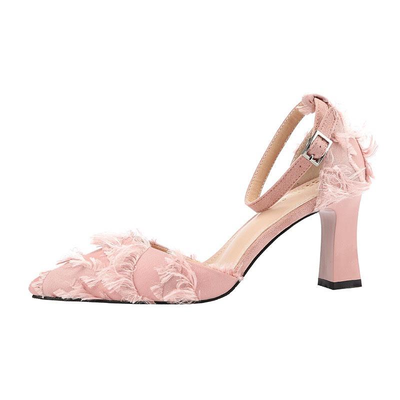 Ericdress Chunky Heel Buckle Pointed Toe Women's Sweet Pumps