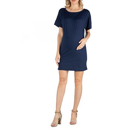 24/7 Comfort Apparel Scoop Neck Loose Fit Dolman Sleeve Dress, X-large , Blue