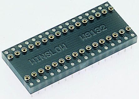 Winslow Straight Through Hole Mount 15.24 mm, 2.54 mm Pitch IC Socket Adapter, 24 Pin Female DIP to 24 Pin Male DIP