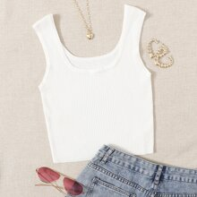 Scoop Neck Ribbed Knit Solid Knit Top