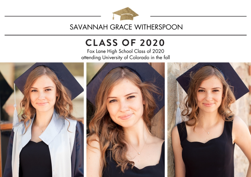 2020 Graduation Announcements 5x7 Cards, Premium Cardstock 120lb with Scalloped Corners, Card & Stationery -2020 Traditional by Tumbalina