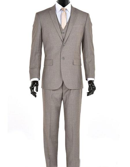 Men's Single Breasted 3 Piece Sand Modern Fit Notch Lapel Suit
