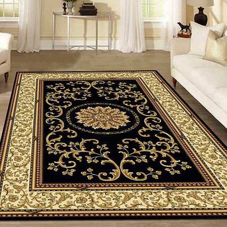 Noble Medallion Traditional Oriental Area Rug, One Size , Black