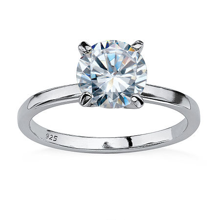 DiamonArt Womens 2 CT. T.W. White Cubic Zirconia Sterling Silver Round Engagement Ring, 10 , No Color Family