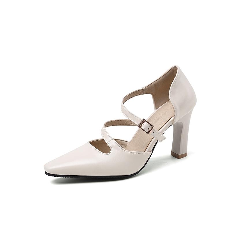 Ericdress Chunky Heel Pointed Toe Slip-On Plain Thin Shoes