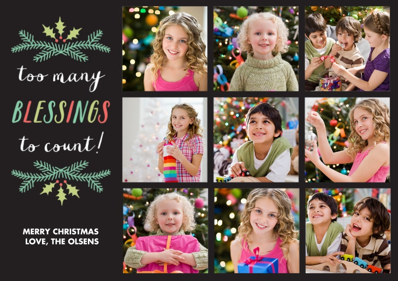 Christmas Photo Cards 5x7 Cards, Premium Cardstock 120lb, Card & Stationery -Red Berry Wreath