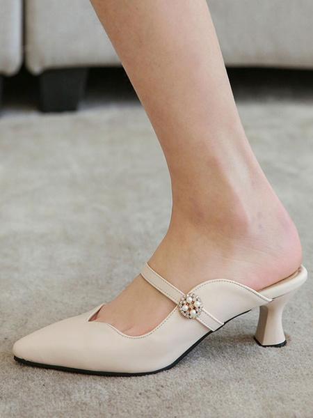 Milanoo Woman\'s Mid-Low Heels Elegant Pointed Toe Goblet Heel Slip-On Elegant Ecru White Mules