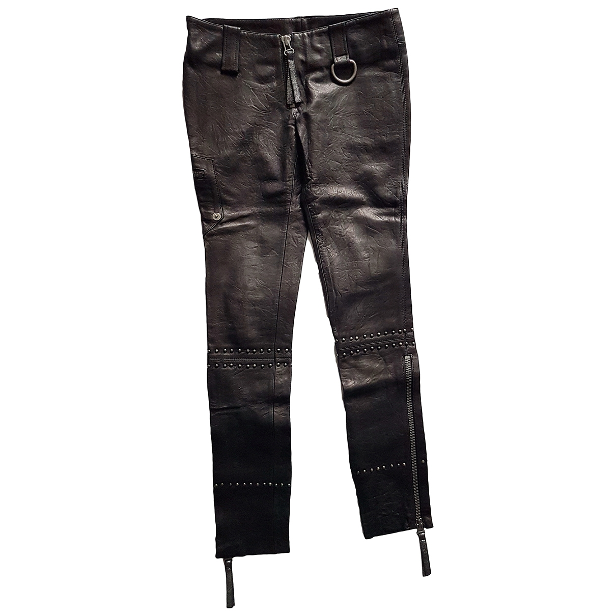 Thomas Wylde \N Black Leather Trousers for Women 2 0-5