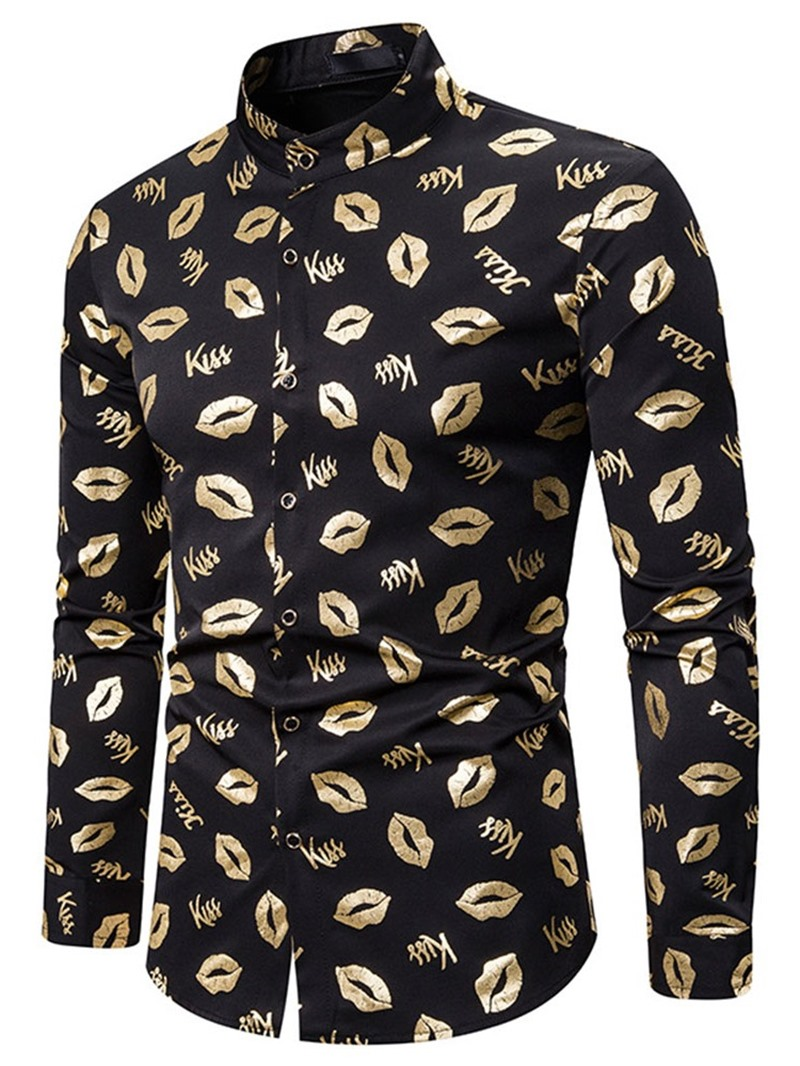 Ericdress Print Letter Casual Single-Breasted Men's Shirt