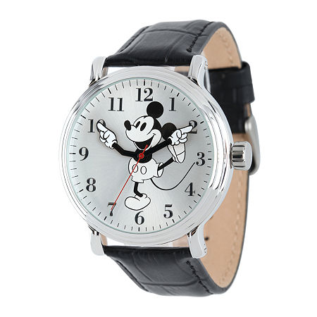 Disney Mickey Mouse Mens Black Leather Strap Watch, One Size , No Color Family