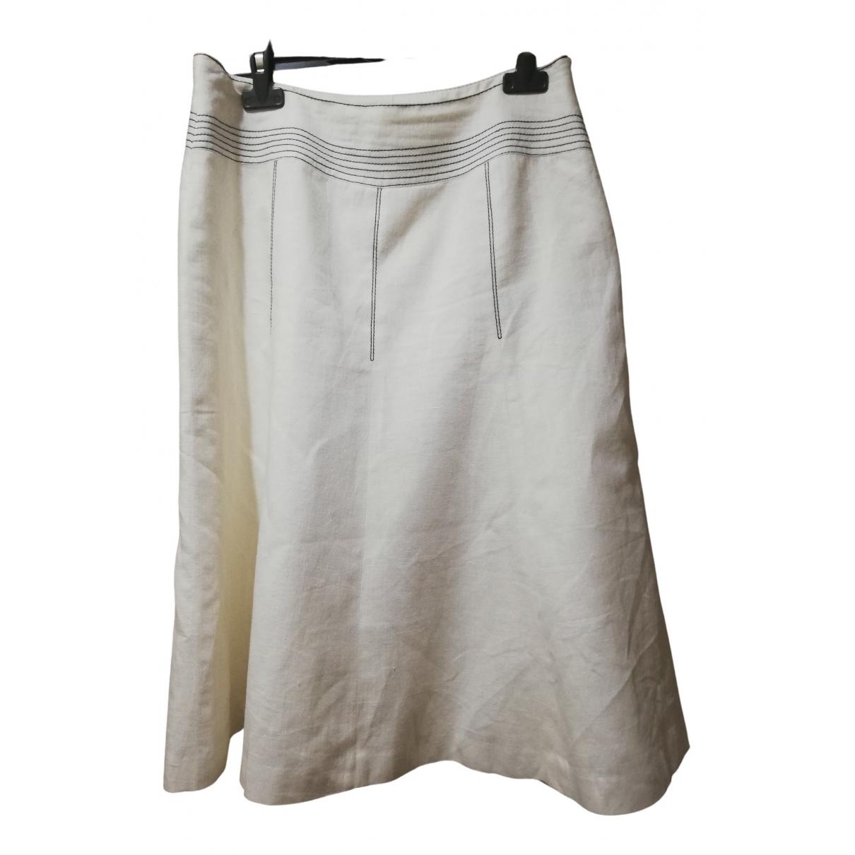 Zara \N White Linen skirt for Women 38 FR