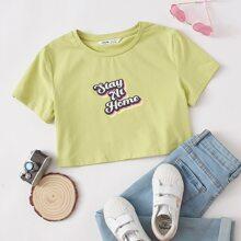 Girls Slogan Graphic Crop Tee