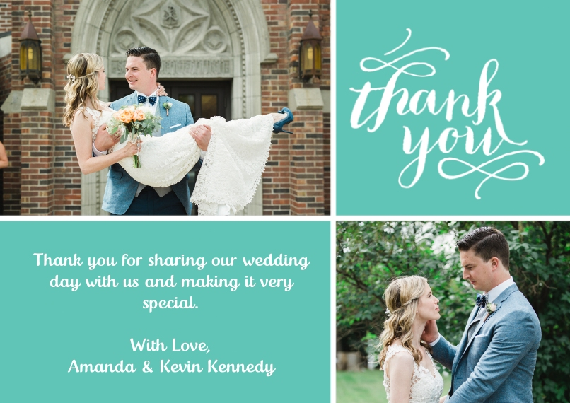 Wedding Thank You 5x7 Cards, Standard Cardstock 85lb, Card & Stationery -Thank You Swirls
