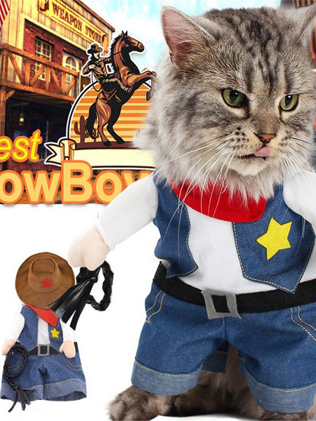 Milanoo Pet Costume Cowboy Dark Navy Clothes Cotton Pet Supply