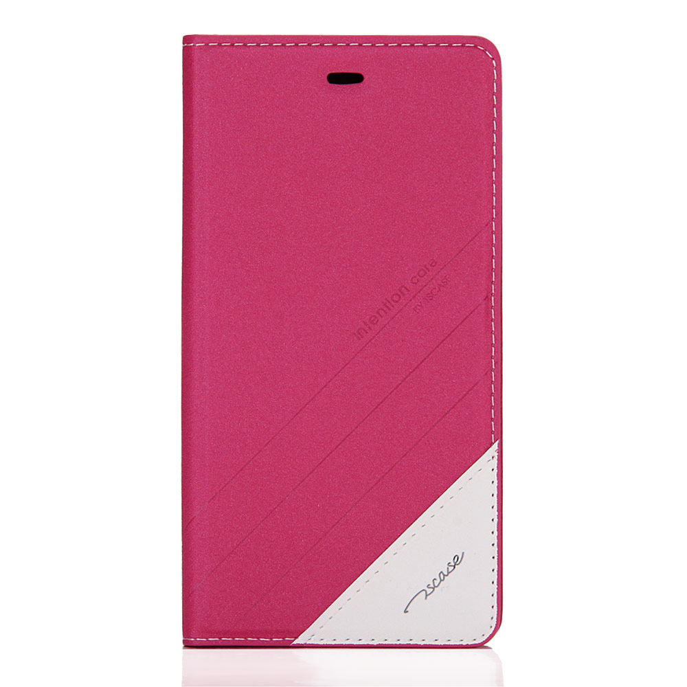 Leather Case For Xiaomi 4S Flip Cover Anti-shock Anti-fall With Wake Up And Sleep Funtion - Rose Red