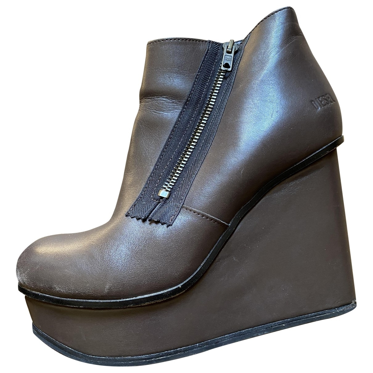 Diesel \N Brown Leather Ankle boots for Women 38 EU
