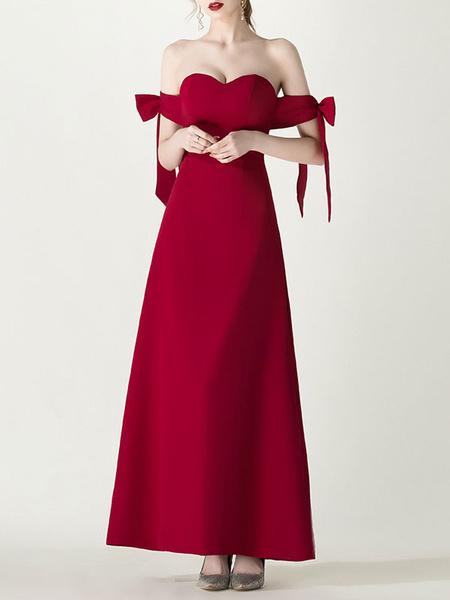 Milanoo Evening Dress A-Line Sweetheart Neck Matte Satin Floor-Length Bows Formal Dinner Dresses