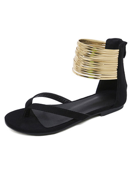 Milanoo Blue Flat Sandals Suede Thong Zip Up Ankle Strap Sandals Shoes For Women